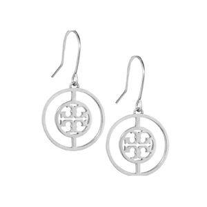 Tory Burch Silver Deco Logo Earrings
